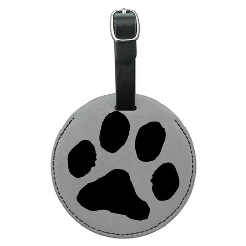Paw Print Pet Dog Cat Round Leather Luggage ID Bag Tag