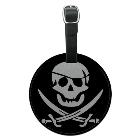 Pirate Skull Crossed Swords Jolly Roger Round Leather Luggage ID Bag Tag Suitcase