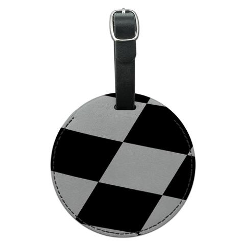 Checkered Flag Racing Round Leather Luggage ID Bag Tag