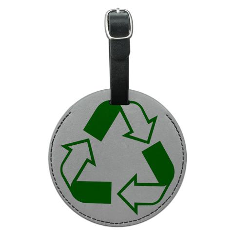 Recycle Reuse Conservation Hybrid Round Leather Luggage ID Bag Tag