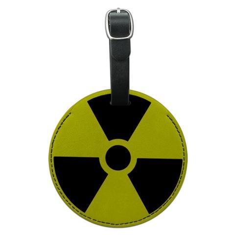 Radioactive Nuclear Warning Symbol Round Leather Luggage ID Bag Tag Suitcase