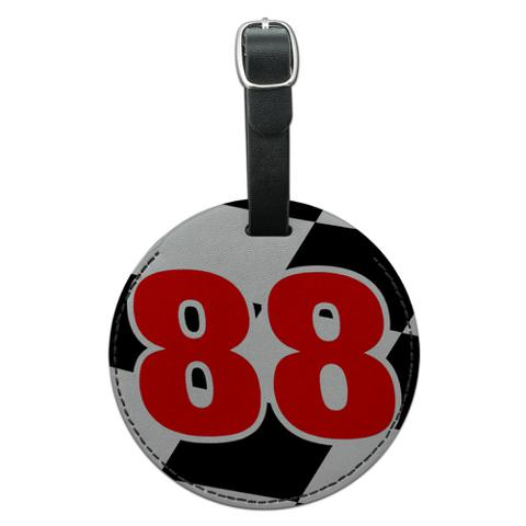 Number 88 Checkered Flag Racing Round Leather Luggage ID Bag Tag