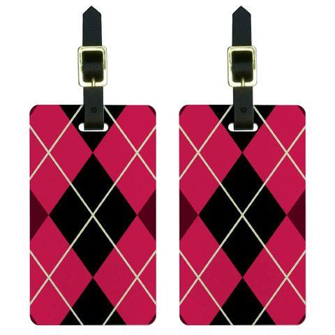 Argyle Hipster Pink - Preppy Luggage Tag Set