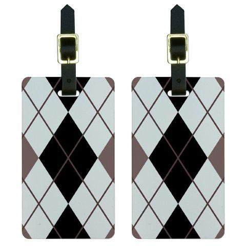 Argyle Hipster Black White - Preppy Luggage Tag Set