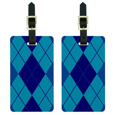 Argyle Hipster Blue - Preppy Luggage Tag Set