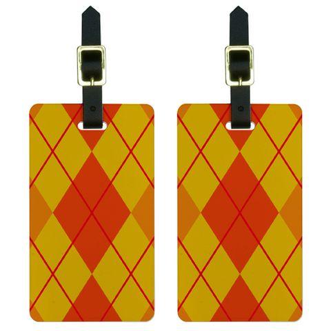Argyle Hipster Orange - Preppy Luggage Tag Set