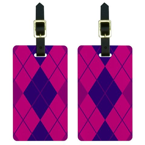 Argyle Hipster Purple Fuchsia - Preppy Luggage Tag Set