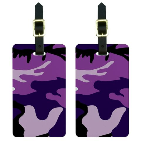 Purple Camouflage Army Soldier Luggage Tag Set