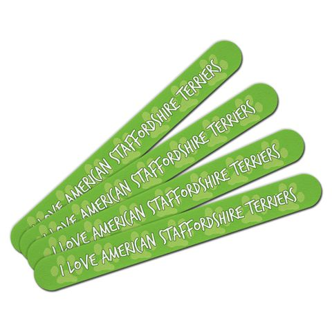 I Love American Staffordshire Terriers Double-Sided Nail File Emery Board Set 4 Pack
