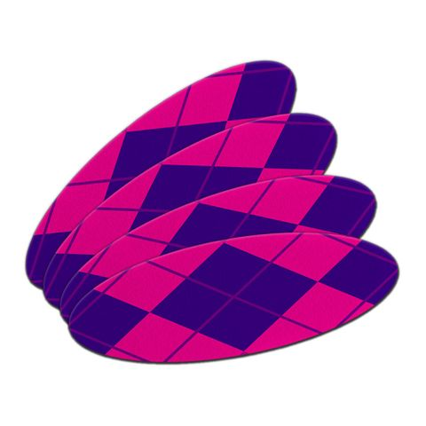 Argyle Hipster Purple Fuchsia - Preppy Oval Nail File Emery Board 4 Pack