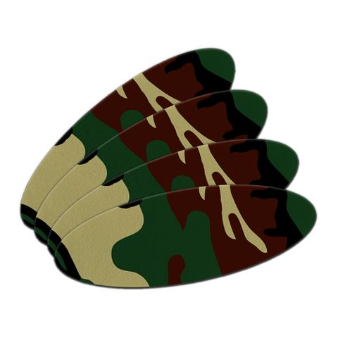 Camouflage Army Soldier Double-Sided Oval Nail File Emery Board Set 4 Pack