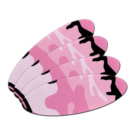 Pink Camouflage Army Soldier Double-Sided Oval Nail File Emery Board Set 4 Pack