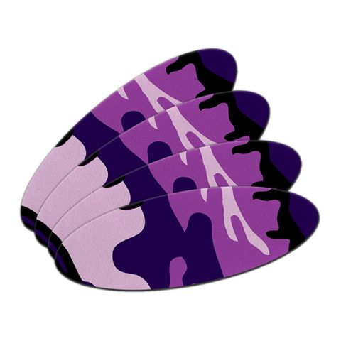 Purple Camouflage Army Soldier Double-Sided Oval Nail File Emery Board 4 Pack