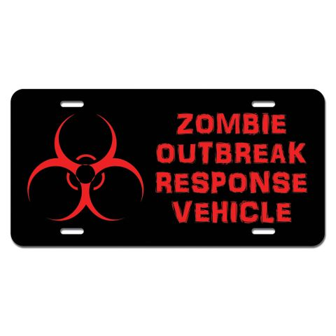 Zombie Outbreak Response Vehicle Distressed Novelty License Plate