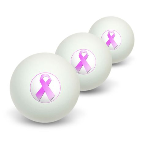 Breast Cancer Pink Ribbon Novelty Table Tennis Ping Pong Ball 3 Pack