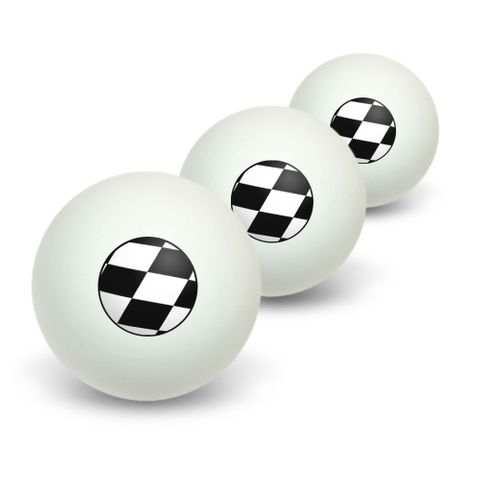 Checkered Flag - Racing Novelty Table Tennis Ping Pong Ball 3 Pack