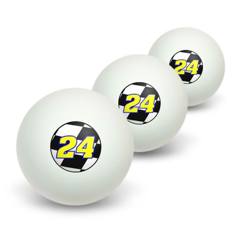 Number 24 Checkered Flag - Racing Novelty Table Tennis Ping Pong Ball 3 Pack