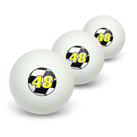 Number 48 Checkered Flag - Racing Novelty Table Tennis Ping Pong Ball 3 Pack