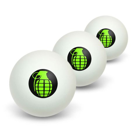 Hand Grenade Frag Explosive Weapon Novelty Table Tennis Ping Pong Ball 3 Pack