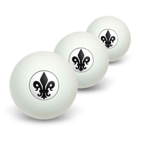 Fleur de Lis - Black on White Novelty Table Tennis Ping Pong Ball 3 Pack