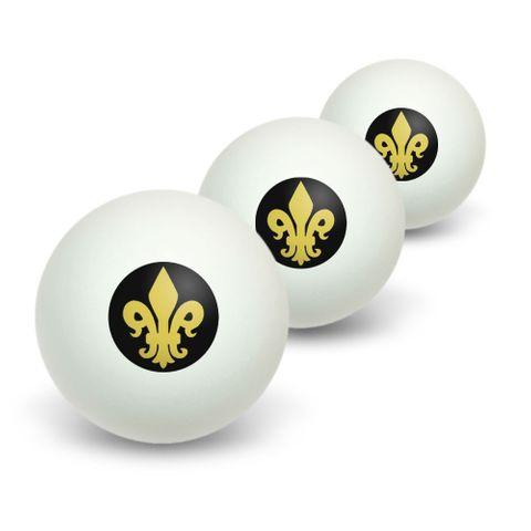 Fleur de Lis - Gold on Black Novelty Table Tennis Ping Pong Ball 3 Pack