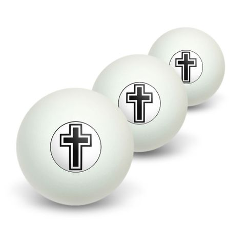 Cross - Christian Religious Novelty Table Tennis Ping Pong Ball 3 Pack