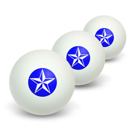 Nautical Star - Blue Novelty Table Tennis Ping Pong Ball 3 Pack