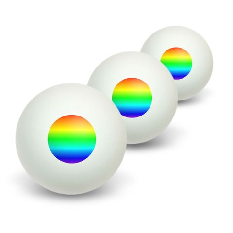 Rainbow - Gay Lesbian Novelty Table Tennis Ping Pong Ball 3 Pack
