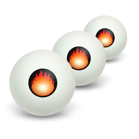 Fire Fireball Novelty Table Tennis Ping Pong Ball 3 Pack