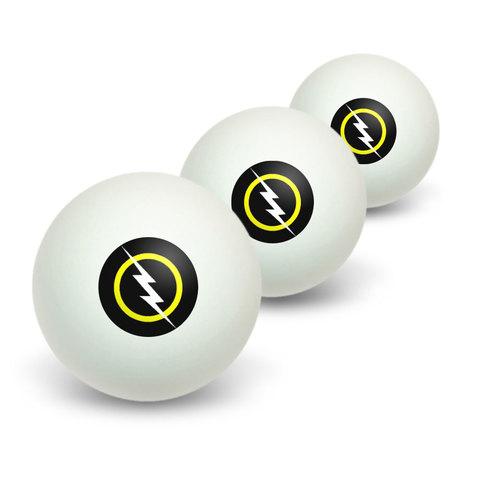 White Lightning Bolt Novelty Table Tennis Ping Pong Ball 3 Pack