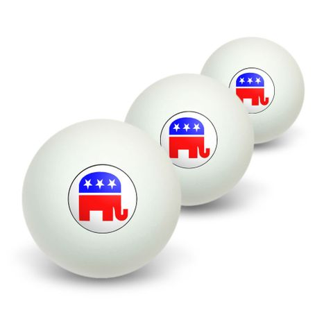 Republican Elephant Novelty Table Tennis Ping Pong Ball 3 Pack