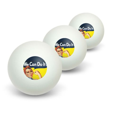 Rosie The Riveter - War Poster Novelty Table Tennis Ping Pong Ball 3 Pack