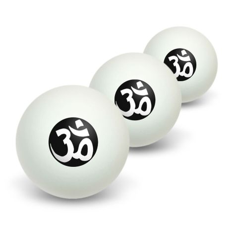 Om Aum Yoga - Namaste Novelty Table Tennis Ping Pong Ball 3 Pack
