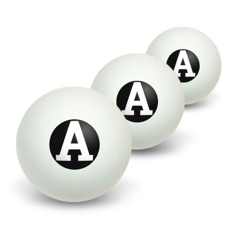 Letter A Initial Black White Novelty Table Tennis Ping Pong Ball 3 Pack