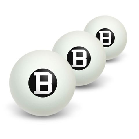 Letter B Initial Black White Novelty Table Tennis Ping Pong Ball 3 Pack