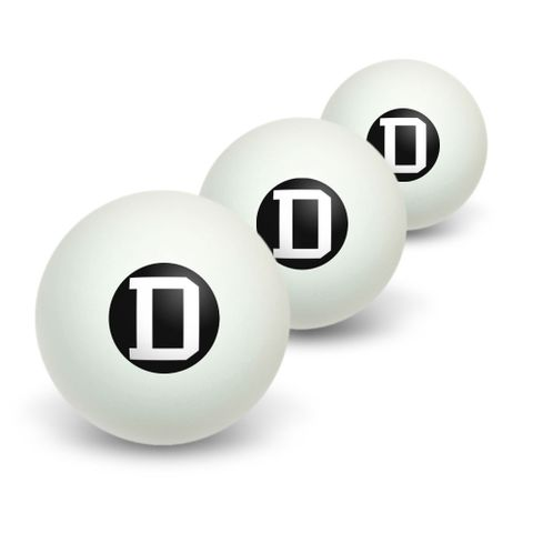 Letter D Initial Black White Novelty Table Tennis Ping Pong Ball 3 Pack