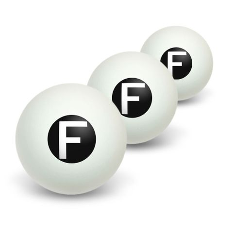 Letter F Initial Black White Novelty Table Tennis Ping Pong Ball 3 Pack