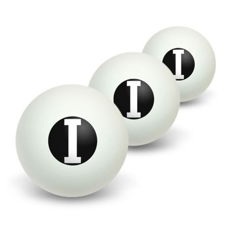 Letter I Initial Black White Novelty Table Tennis Ping Pong Ball 3 Pack