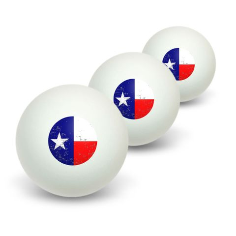 Texas Flag Distressed Novelty Table Tennis Ping Pong Ball 3 Pack