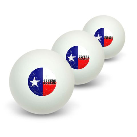 SECEDE - Texas Flag Distressed Novelty Table Tennis Ping Pong Ball 3 Pack