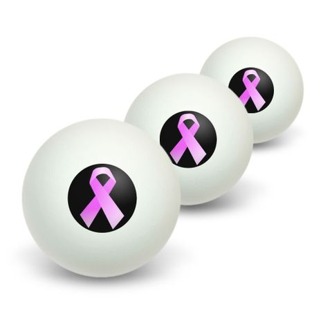 Breast Cancer Pink Ribbon on Black Novelty Table Tennis Ping Pong Ball 3 Pack