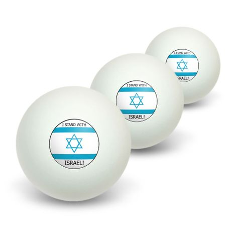 I Stand With Israel - Pro Israeli Jewish Support Novelty Table Tennis Ping Pong Ball 3 Pack