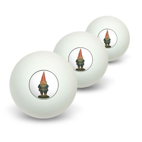 Garden Gnome Novelty Table Tennis Ping Pong Ball 3 Pack