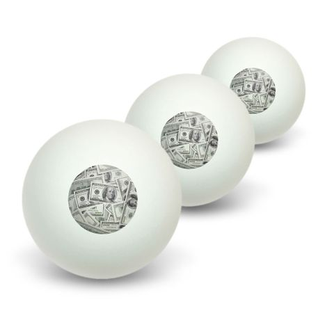 Hundred Dollar Bills Money Currency Novelty Table Tennis Ping Pong Ball 3 Pack