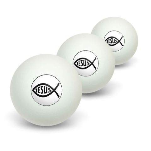 Ichthus Fish Christian Jesus Novelty Table Tennis Ping Pong Ball 3 Pack