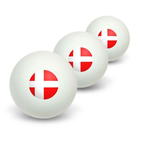 Denmark Danish Flag Novelty Table Tennis Ping Pong Ball 3 Pack