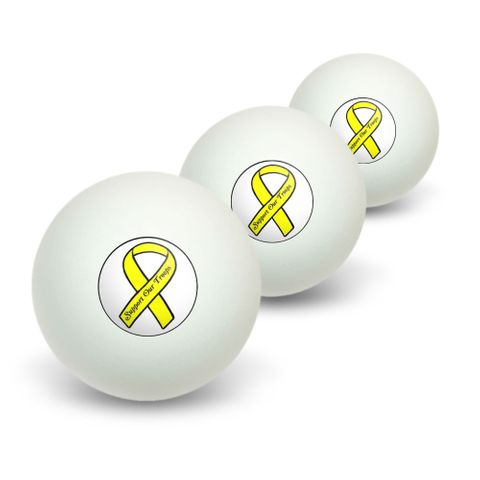 Support our Troops Ribbon - Yellow on White Novelty Table Tennis Ping Pong Ball 3 Pack