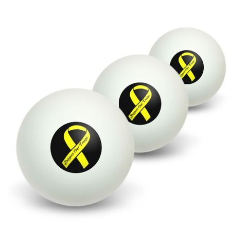 Support our Troops Ribbon - Yellow on Black Novelty Table Tennis Ping Pong Ball 3 Pack