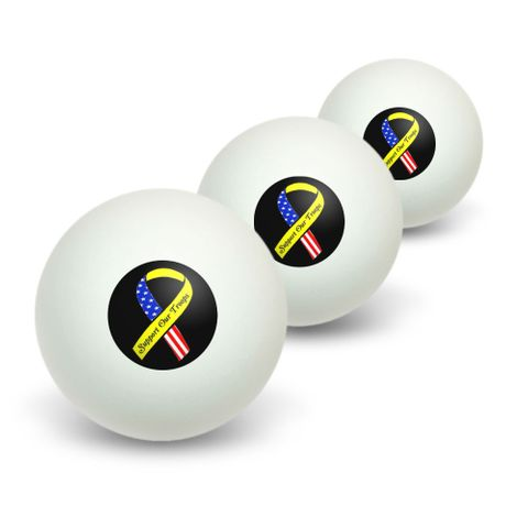 Support our Troops Ribbon - Yellow and flag on Black Novelty Table Tennis Ping Pong Ball 3 Pack