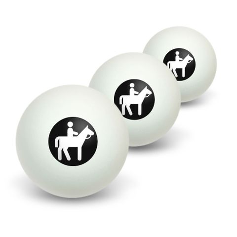 Horseback Riding Horse Equestrian Novelty Table Tennis Ping Pong Ball 3 Pack